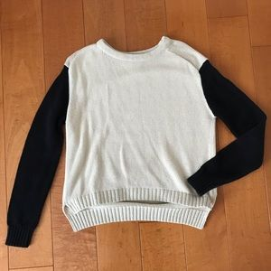Cream Color Block Crewneck Sweater